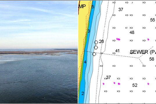A pipeline between Bayville and the Atlantic Ocean is leaking in Barnegat Bay. (Photo: Daniel Nee/Nautical Chart)