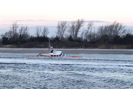 The Miss Kathleen fishing boat sunk inside Manasquan Inlet. (Photo: Daniel Nee)