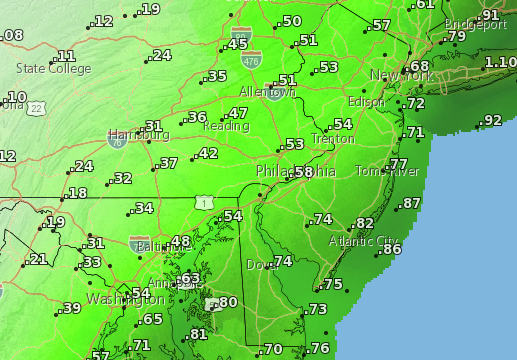 Potential rainfall amounts Weds-Thurs. (Credit: NWS)