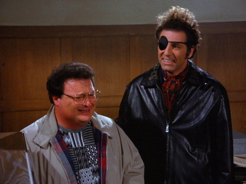 Newman and Kramer appear in municipal court. (Credit: Seinfeld)