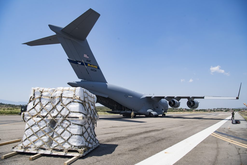A C-17 cargo plane from Joint Base McGuire-Dix-Lakehurst lands at the airport in Cucuta, Colombia. (DoD Photo)