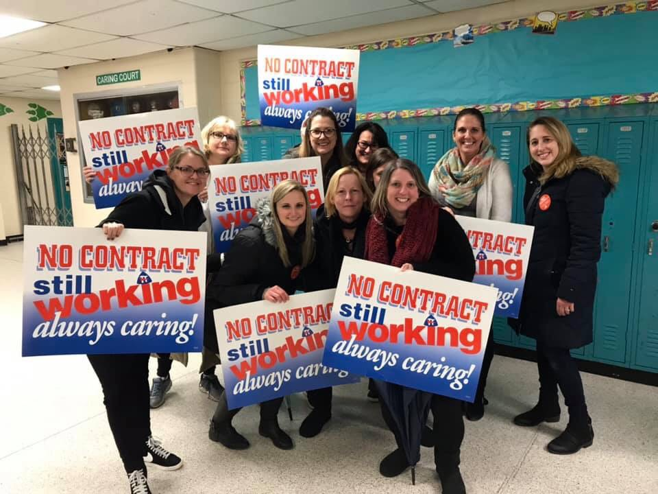 Brick teachers rally for a contract at an event at Lake Riviera Middle School. (Supplied Photo)
