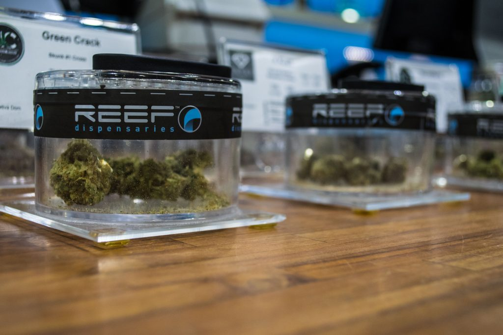 The retail portion of Reef Dispensaries in Las Vegas, NV, photographed during a tour of the facility. (Photo: Daniel Nee/Shorebeat)