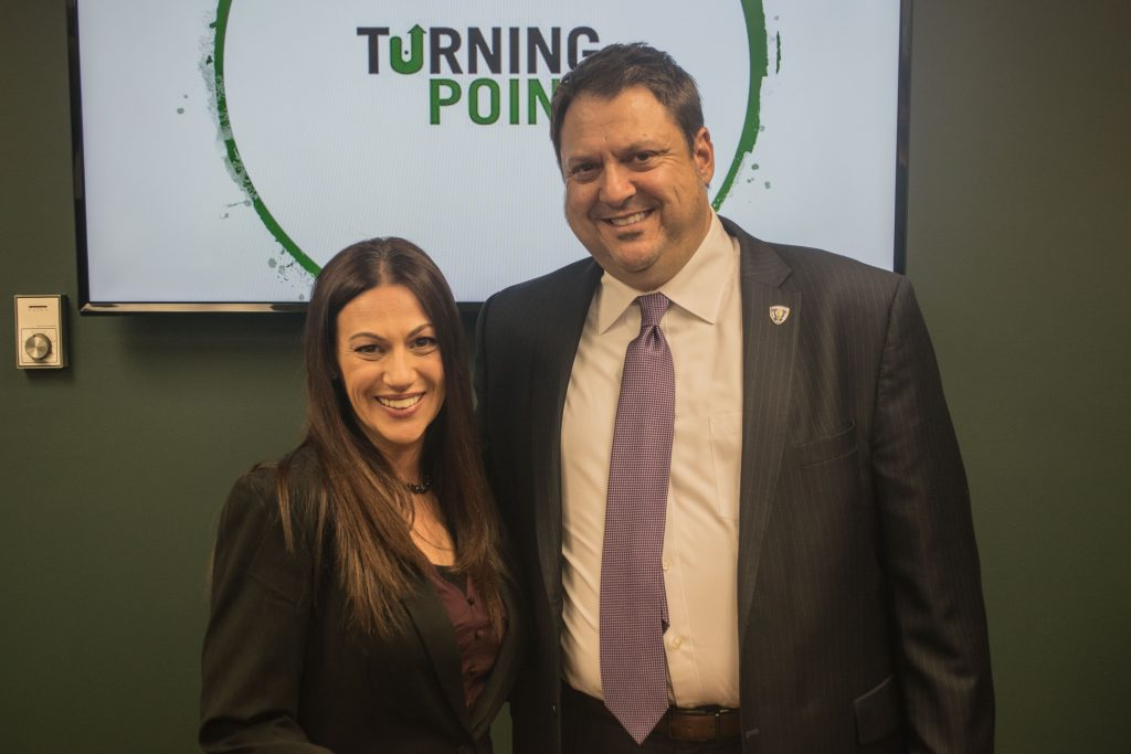 Ocean County Prosecutor Bradley Billhimer and  Holly, who successfully completed Turning Point's program. (Photo: Daniel Nee)