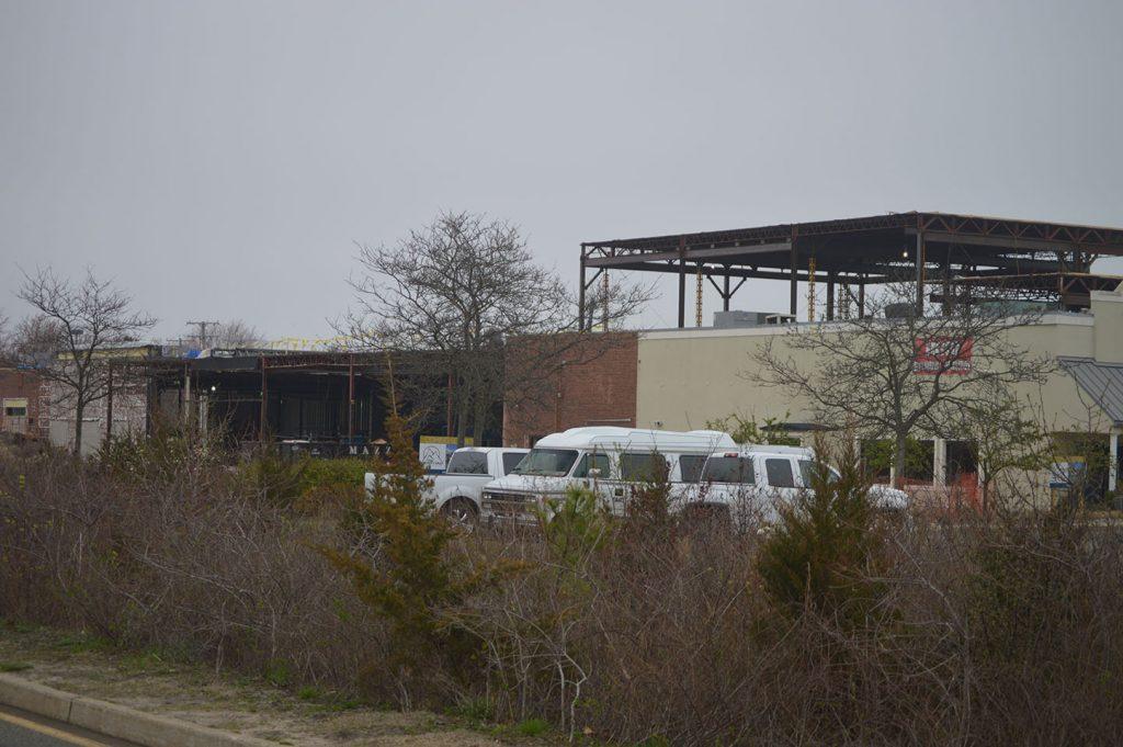Construction at Brick Plaza, where Trader Joe's will open a supermarket, April 2019. (Photo: Daniel Nee)