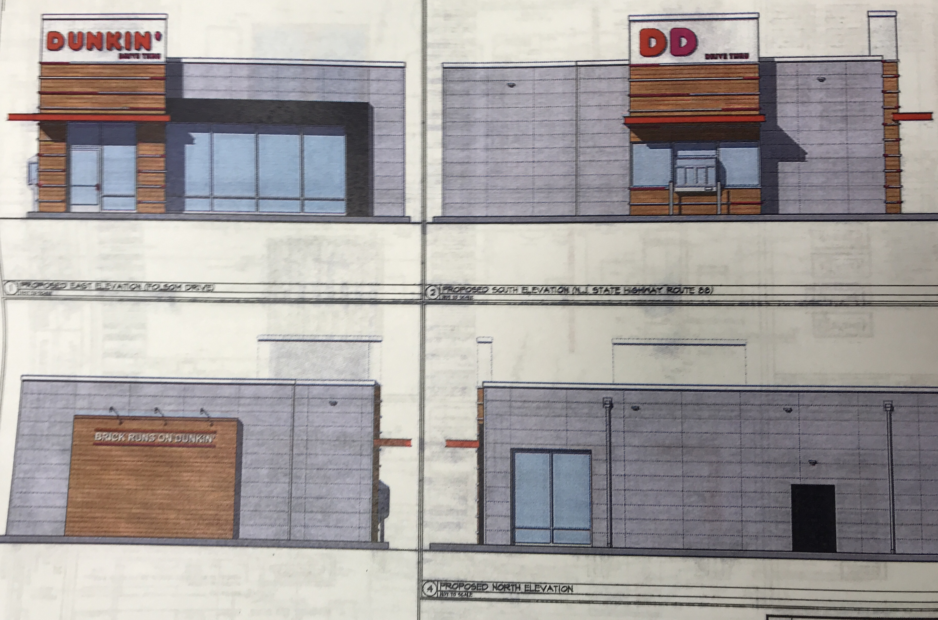 A rendering of an approved Dunkin' Donuts on Route 88 in Brick. (Photo: Daniel Nee)