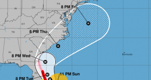 Hurricane Dorian's forecast track, Sept. 2, 2019. (Credit: National Hurricane Center)