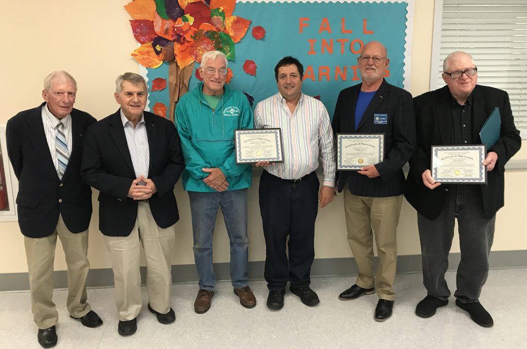 Members of Knights of Columbus Council 8160 receive an honor from the Brick Twp. Board of Education, Oct. 2019. (Photo: Daniel Nee)
