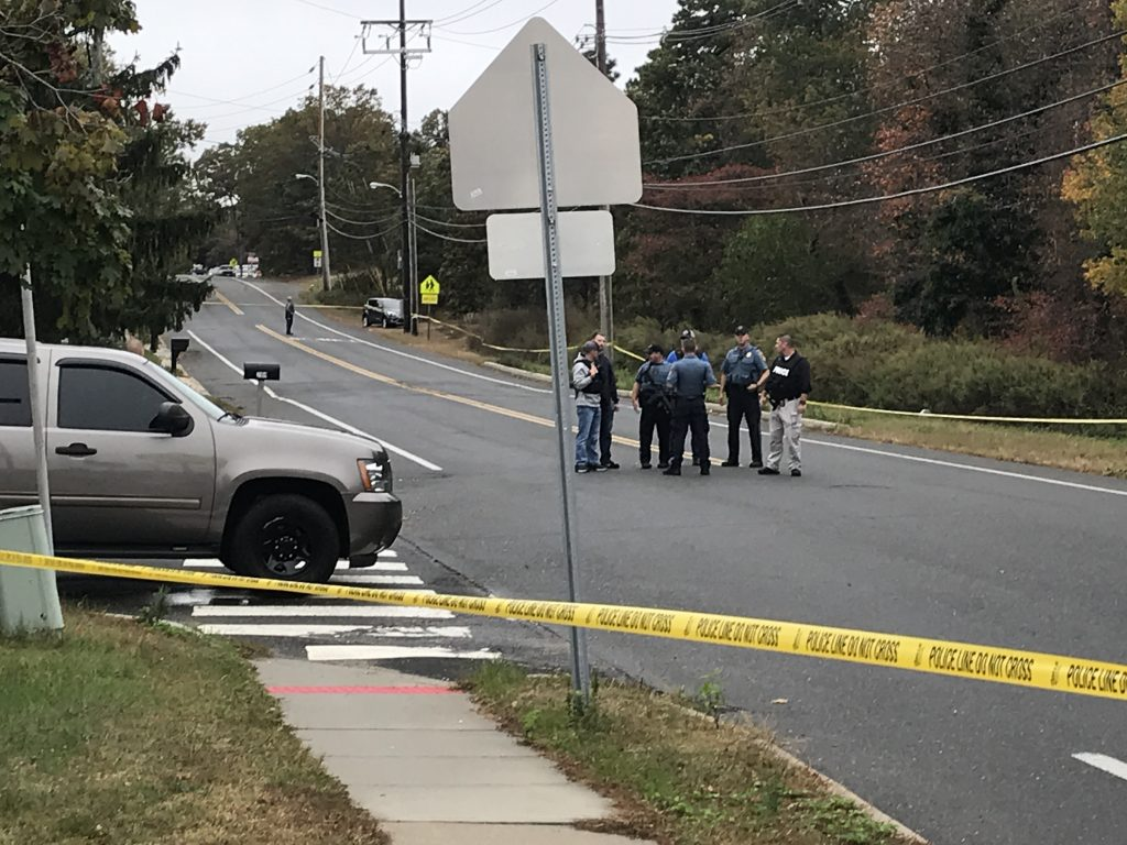 Police block off Lanes Mill Road near Brick Memorial High School, Oct. 22, 2019. (Photo: Daniel Nee)