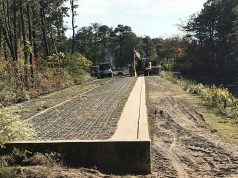 Work underway to replace the Lake Riviera dam in Brick, Oct. 2019. (Photo: Daniel Nee)