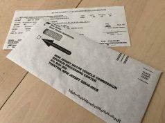 A New Jersey vehicle registration renewal form. (Photo: Daniel Nee)