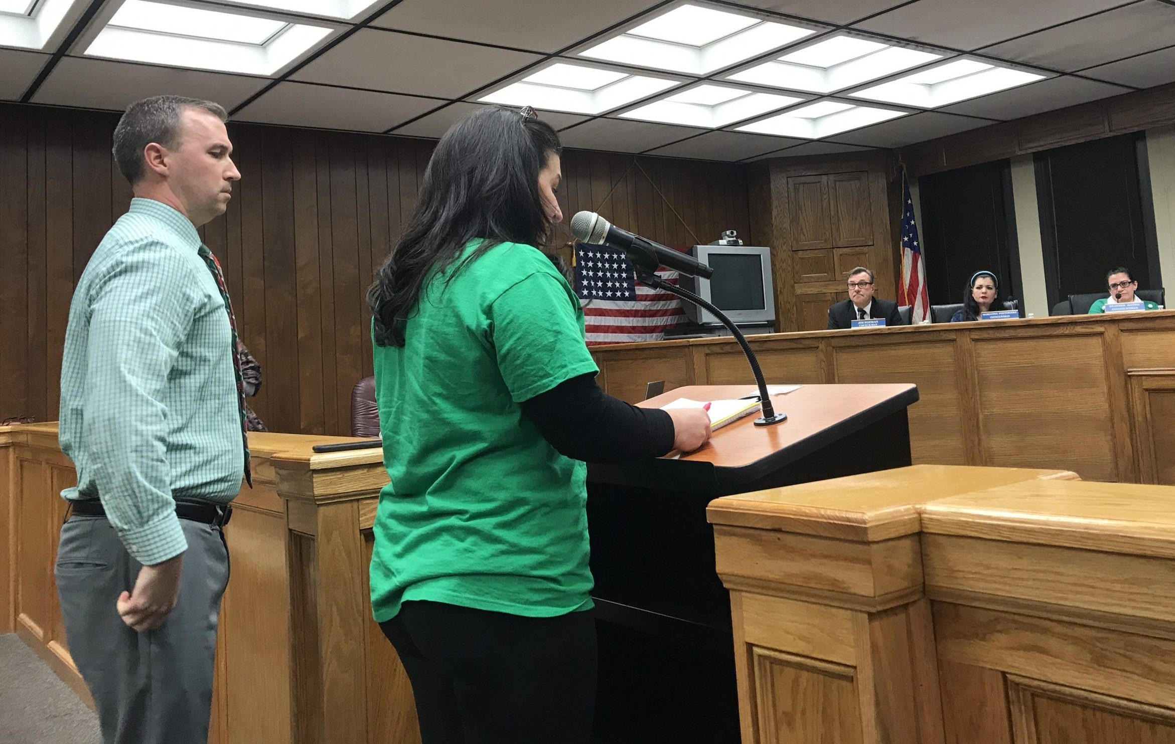 Brick school board president Stephanie Wohlrab and Acting Superintendent Sean Cranston address the Brick mayor and council, Dec. 17, 2019. (Photo: Daniel Nee)