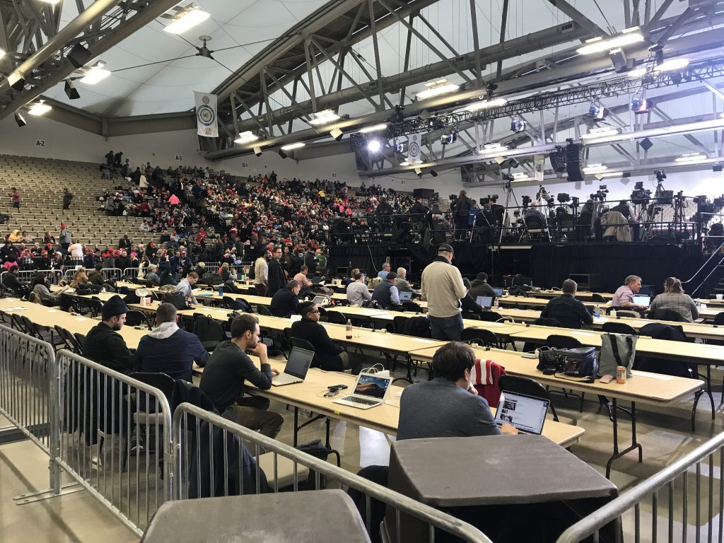 A media section cordoned off at the Jan. 28, 2020 rally for President Donald Trump. (Photo: Daniel Nee/Shorebeat)