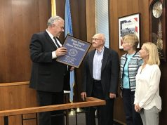 Freeholder Gary Quinn honors retiring OC Planning Board member Donald Bertrand. (Photo: Daniel Nee)