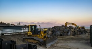 Construction of a sea wall in Point Pleasant Beach, N.J., Jan. 2020