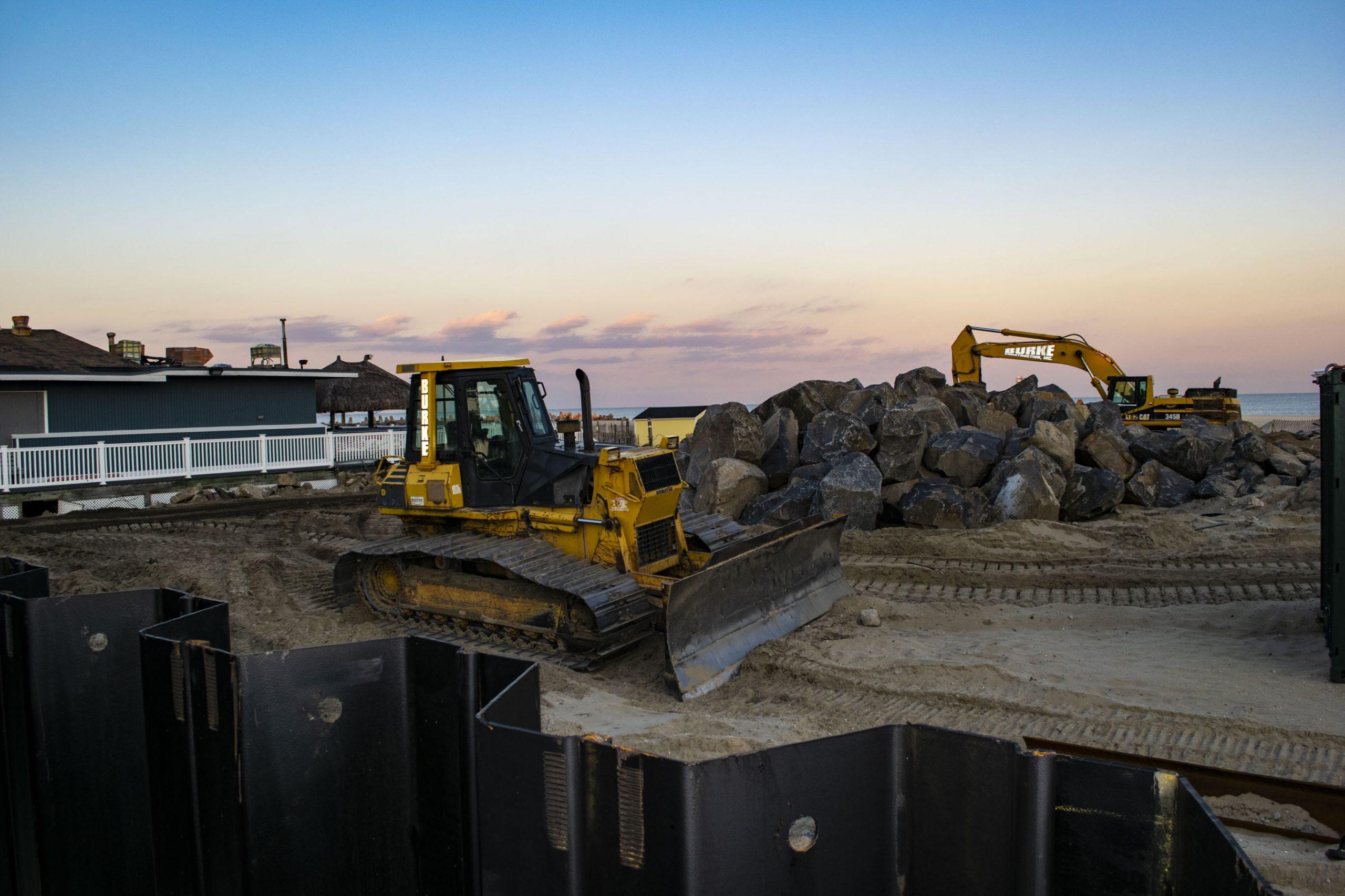 Construction of a sea wall in Point Pleasant Beach, N.J., Jan. 2020