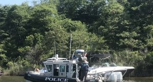 A Brick police boat in F-Cove, Brick Township. (Photo: Daniel Nee)