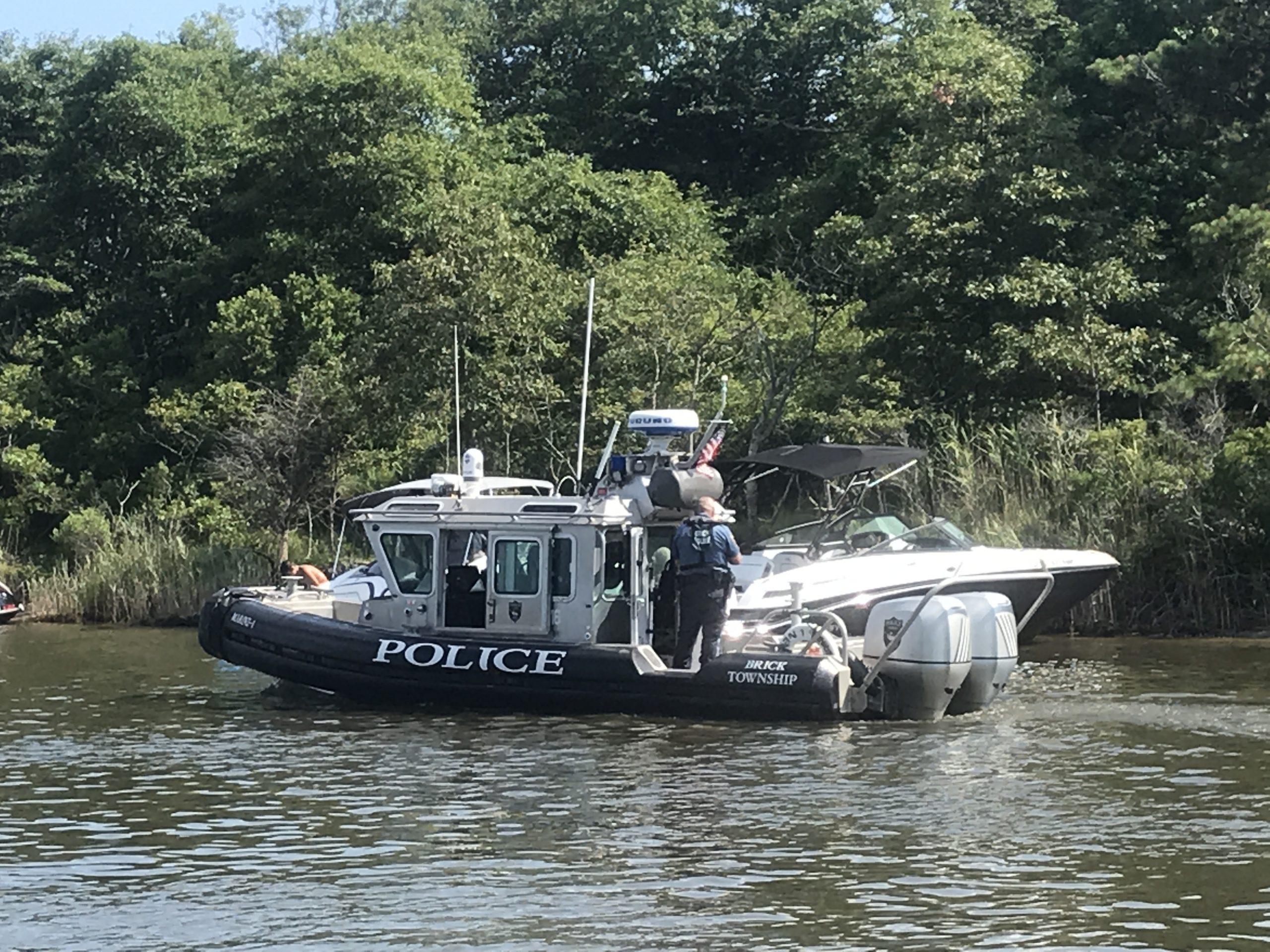 A Brick police boat in F-Cove, Brick Township. (Photo: Daniel Nee)