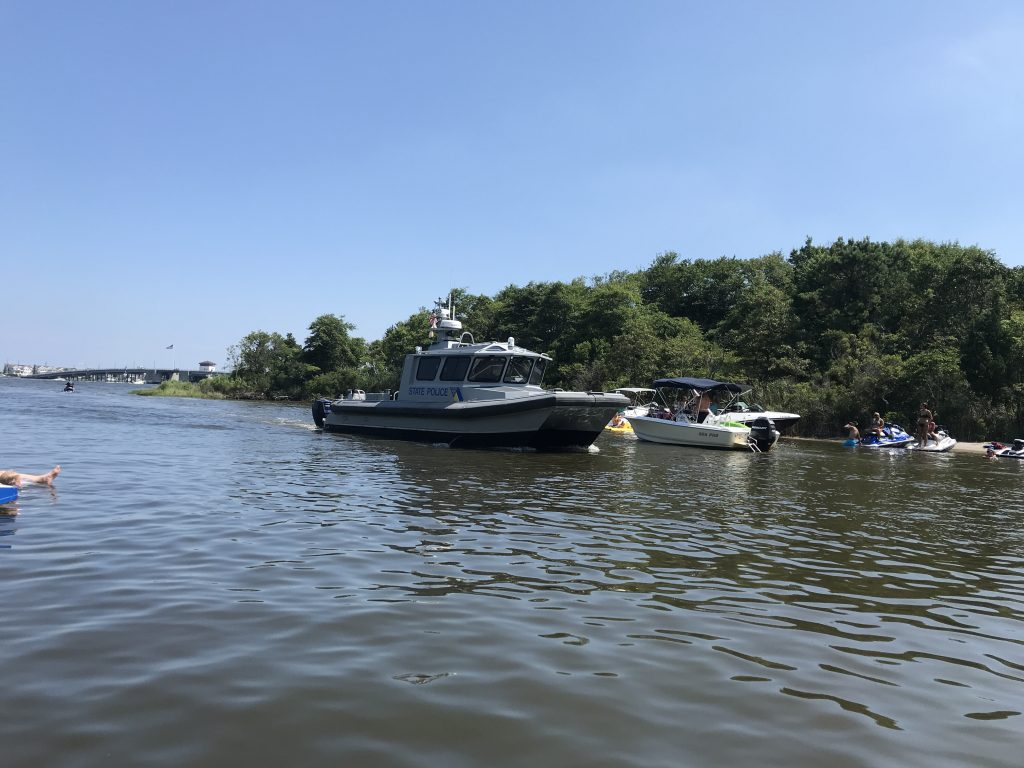 A New Jersey State Police boat in F-Cove, Brick Township. (Photo: Daniel Nee)