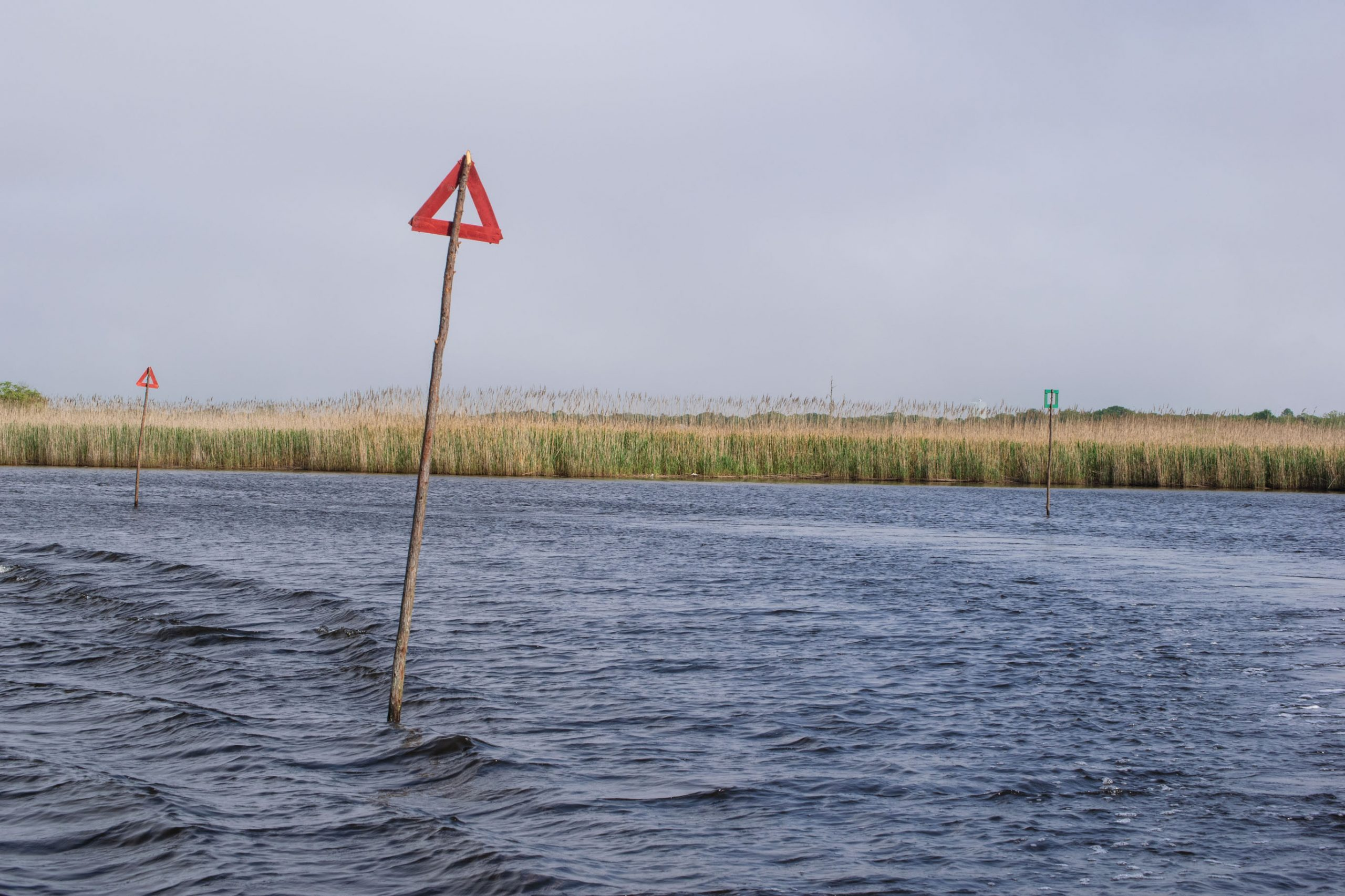 Channel markers installed along the upper Metedeconk River, May 27, 2020. (Photo: Daniel Nee)