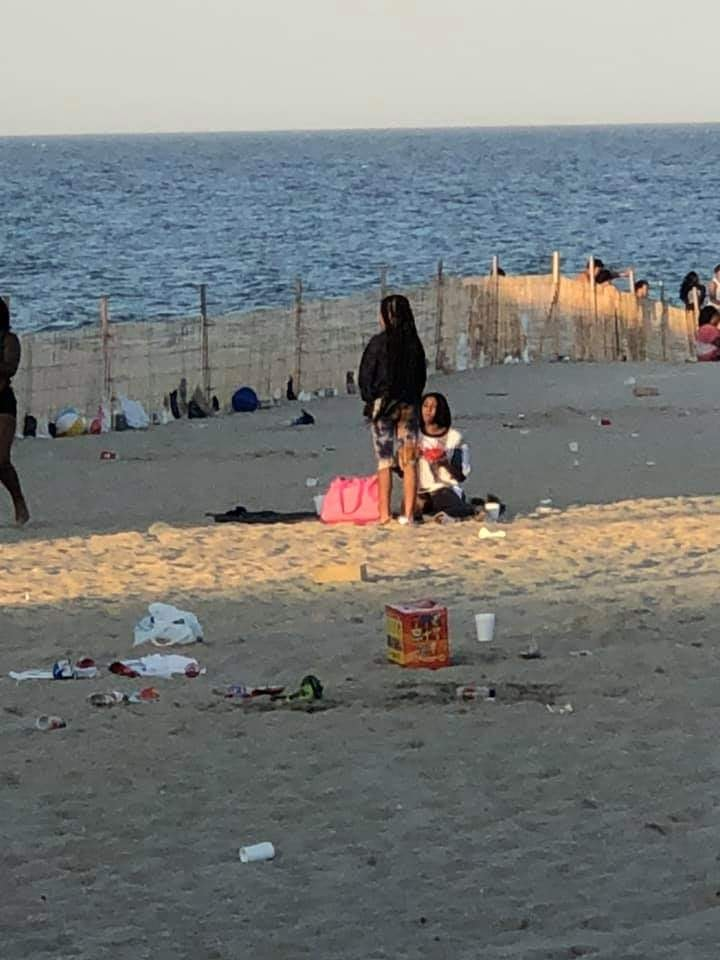 Litter on the Point Pleasant Beach oceanfront following a large gathering June 9, 2020. (Photo: Bernie Neuhaus/ Facebook)
