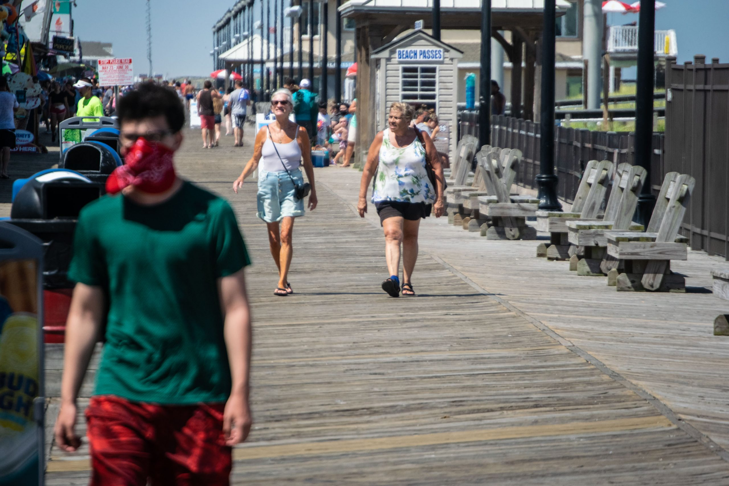 Visitors to the boardwalk and rides in Seaside Heights, N.J. wear face masks July 8, 2020. (Photo: Daniel Nee)