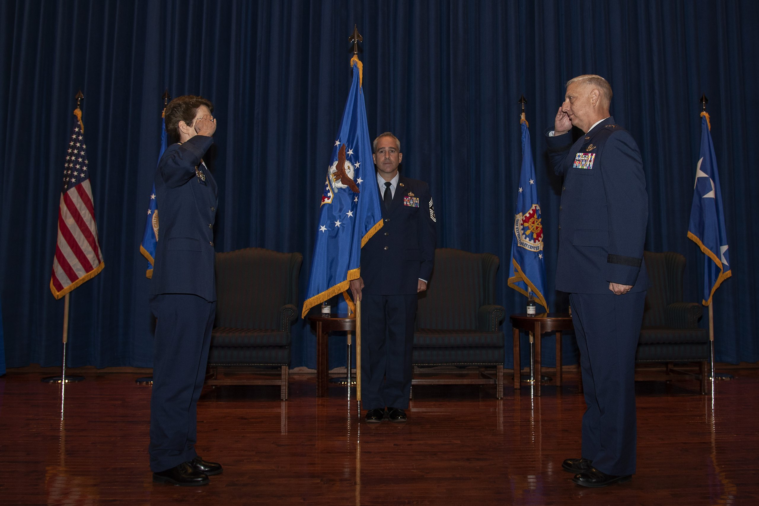 U.S. Air Force Maj. Gen. Mark Camerer assumes command of the U.S. Air Force Expeditionary Center during a change of command ceremony Sept. 23, 2020, at the USAF Expeditionary Center on Joint Base McGuire-Dix-Lakehurst, New Jersey. U.S. Air Force Gen. Jacqueline Van Ovost, Air Mobility Command commander, presided over the ceremony where U.S. Air Force Maj. Gen. John Gordy relinquished command of the USAF Expeditionary Center to Camerer. (U.S. Air Force photo by Master Sgt. Ashley Hyatt)