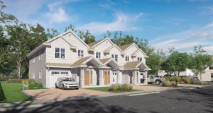 Plans and rendering of a proposed new townhome development on Mantoloking Road. (Screenshot)