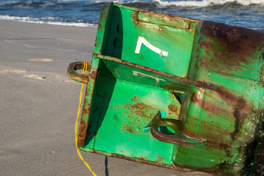 A green lateral buoy washed up on Brick Beach III, Sept. 22, 2020. (Photo: Daniel Nee)