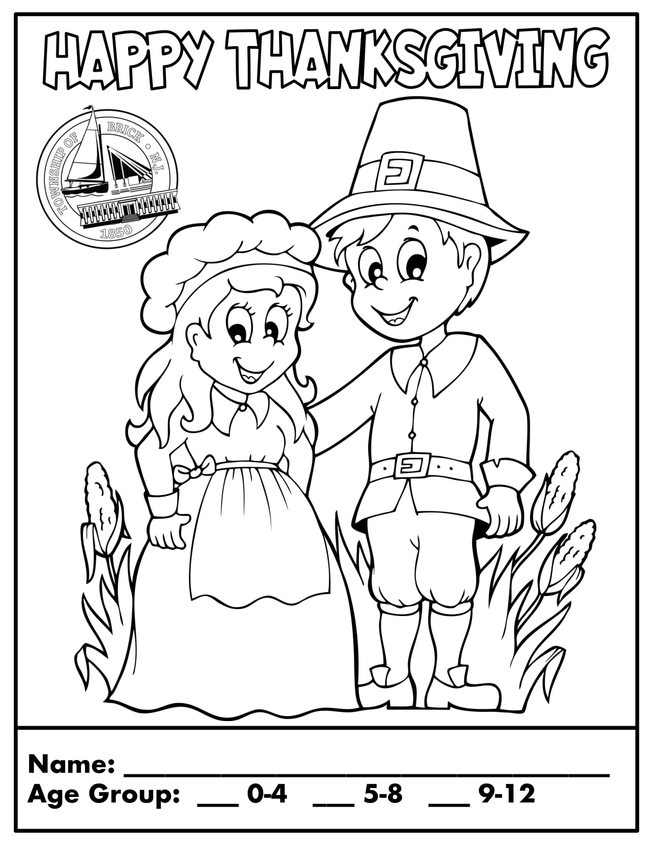 Brick Township's Thanksgiving coloring contest entree.