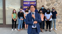 U.S. Rep. Andy Kim (D-3) declares victory in the 2020 election via an online stream. (Screenshot)