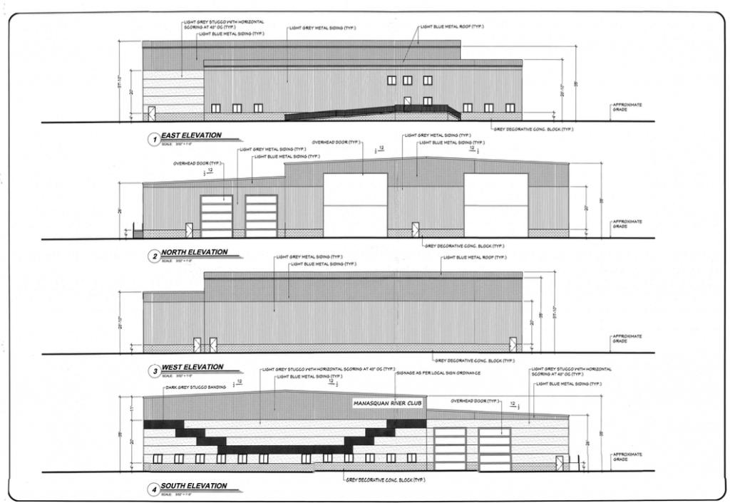 Architectural renderings for new buildings at the Manasquan River Club marina, Brick, N.J. (Credit: Township of Brick)