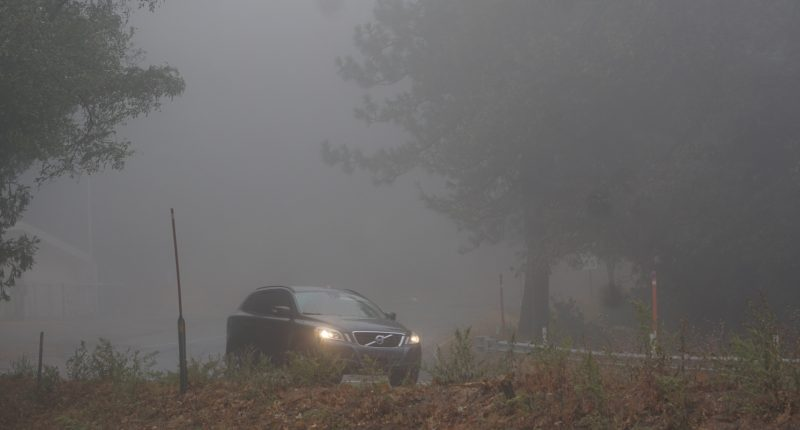 Fog conditions on a roadway. (Credit: San Bernardino Nat'l Forest/ Flickr/ File Photo)