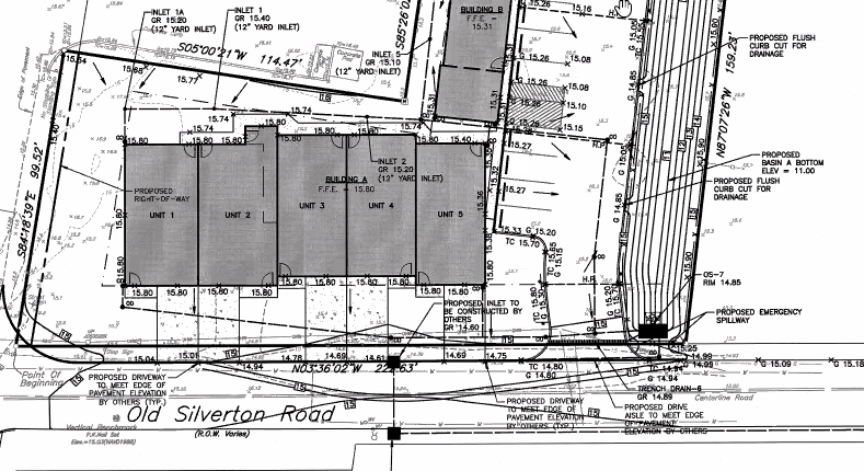 A planning document showing the proposed mixed-use development at Drum Point Road and Old Silverton Road in Brick Township. (Screenshot/Daniel Nee)