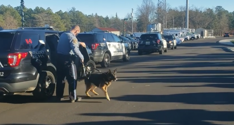 Brick Police K9 Max and his handler, Ptl. Keith Prendeville, finish their shift, Dec. 29, 2020. (Screenshot: Brick Twp. Police)