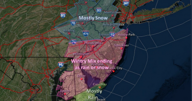 A graphic representing predictions for a winter storm, Jan. 25-26, 2021. (Credit: NWS)