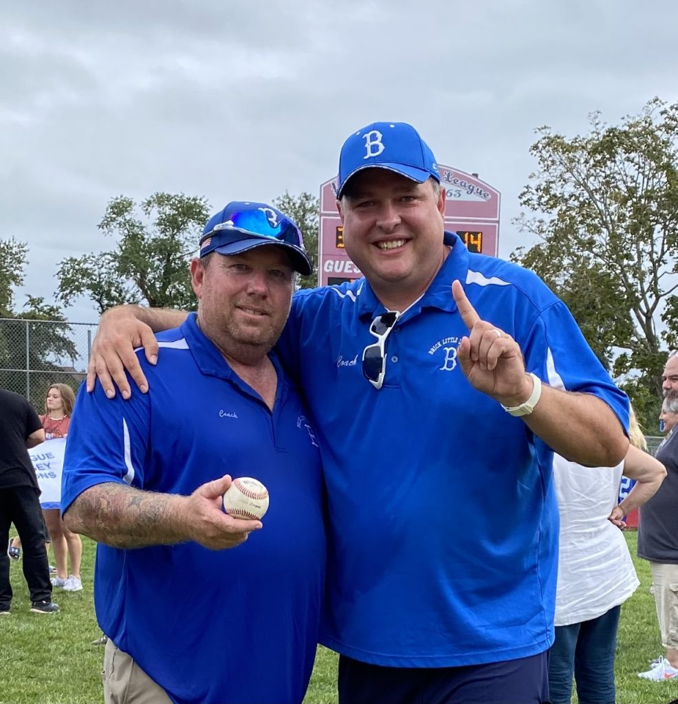 State Championship Manager George Cavanaugh (L) with new League President Mike Desmond (R). (Photo: Brick Little League)