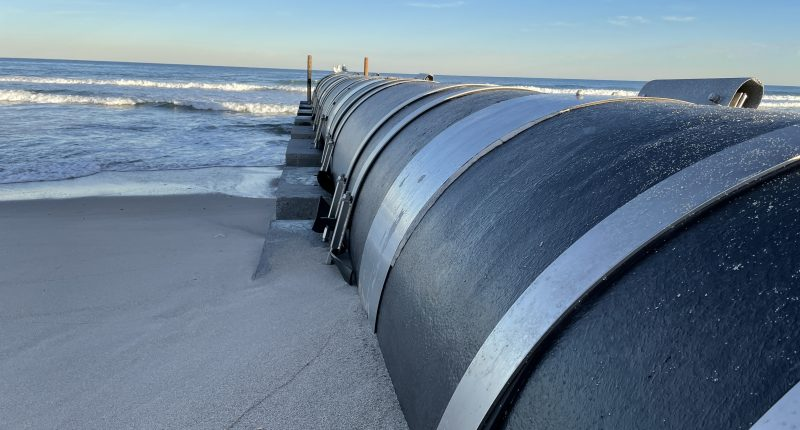 An outfall pipe north of Maryland Avenue in Point Pleasant Beach, exposed from the Feb. 2021 nor'easter. (Photo: Daniel Nee)