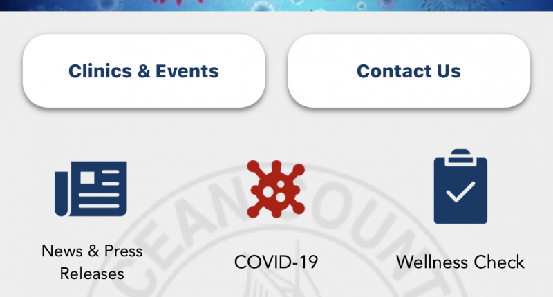 A screenshot of the Ocean County Health Department smartphone app.