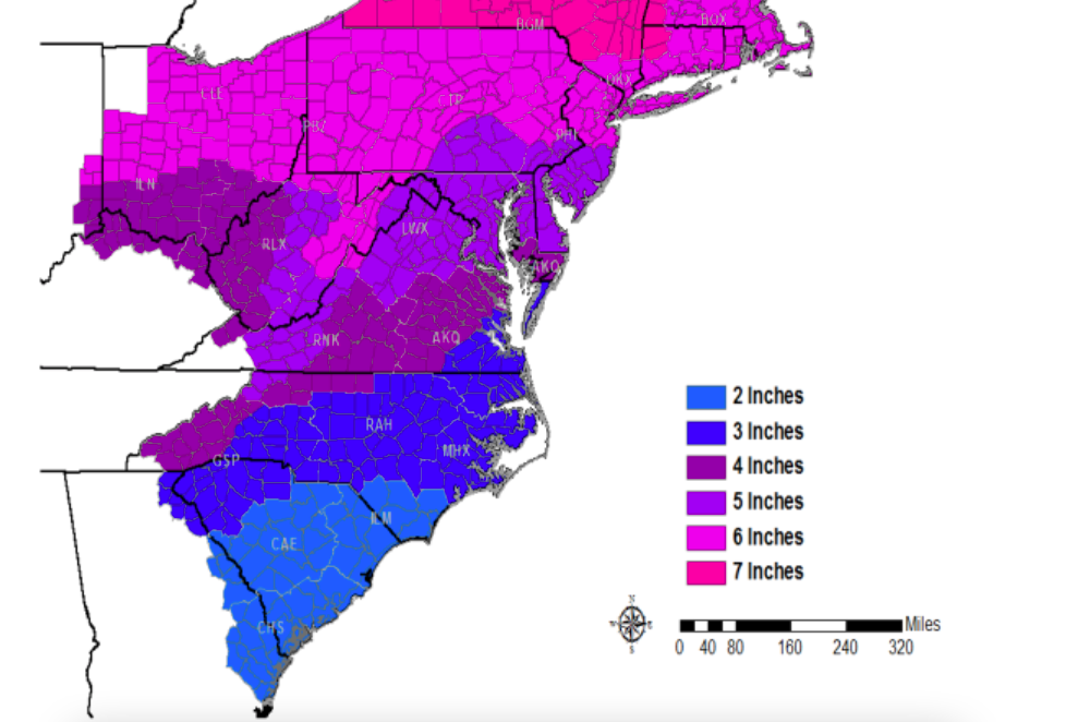 Predicted snow totals for Feb. 7, 2021. (Credit: NWS)