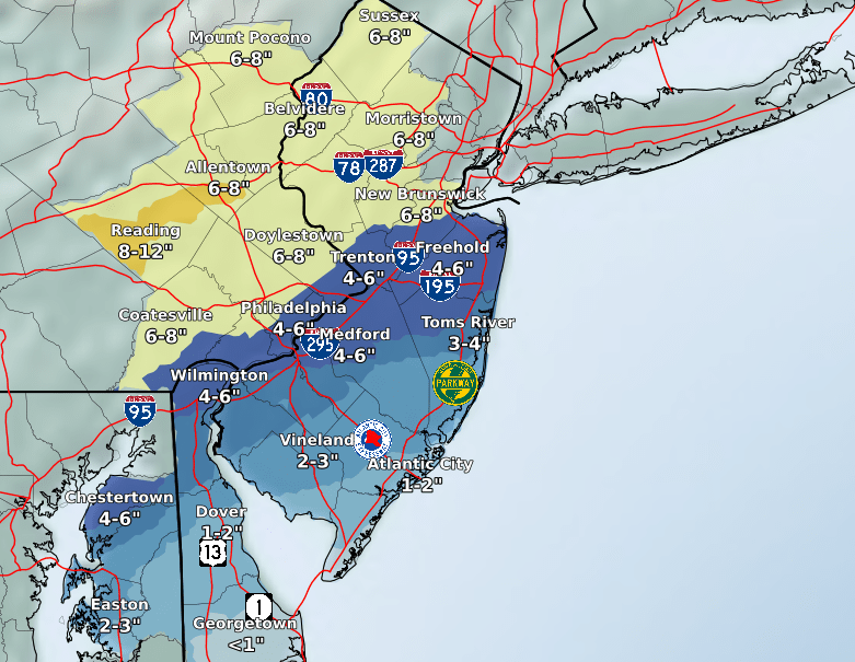 Snowfall predictions for the Feb. 18-19, 2021 storm. (Credit: NWS)