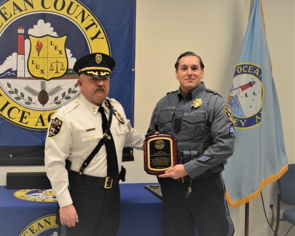 Sgt. Jim Kelly receives an award. (Photo: Brick Twp. Police)