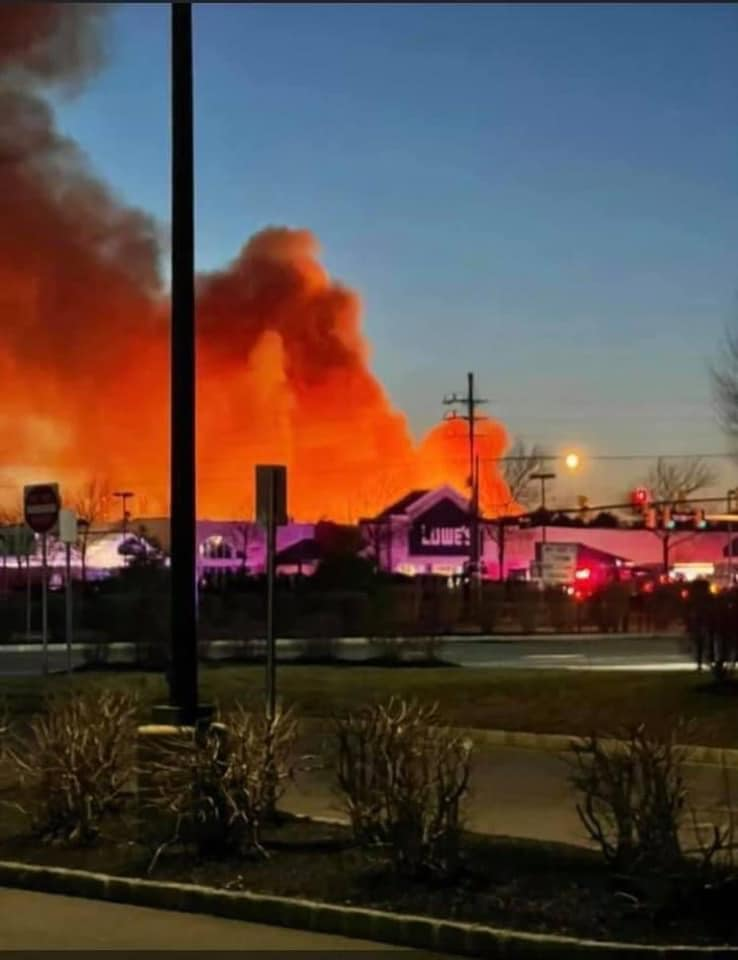 A brush fire spreads in Brick Township, March 14, 2021. (Credit: Laurelton Fire Company/Facebook)
