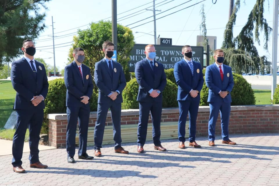 Six new Brick Township police officers are sworn in, April 28, 2021. (Photo: Brick Township)