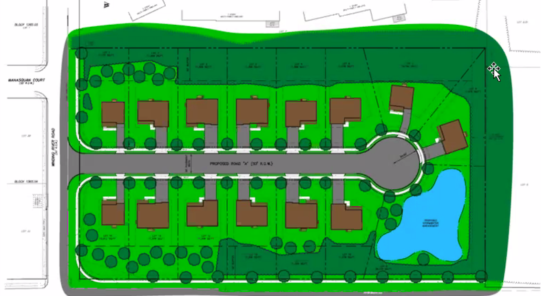 A rendering of the 14-home development proposed off Herbertsville Road, May 2021. (Screenshot)