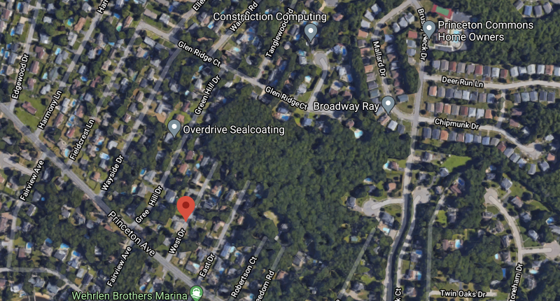 Open space off Princeton Avenue and Brushy Neck Drive in Brick, N.J. (Credit: Google Maps)