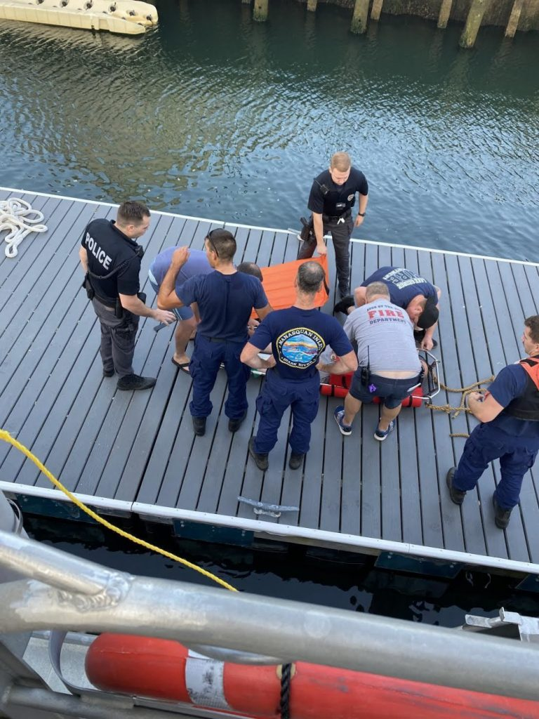 U.S. Coast Guard and partner agencies conduct a medical evacuation on a 58-year-old male 6 miles northeast of Manasquan Inlet, New Jersey, July 19, 2021. (Photo: U.S. Coast Guard photo by Petty Officer 3rd Class Christopher Rivera)