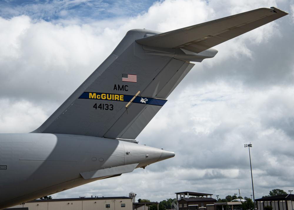 A C-17 Globemaster III assigned to the 305th Air Mobility Wing sits on the flightline at Joint Base McGuire-Dix-Lakehurst, N.J., Aug. 18, 2021. The 305th AMW is responsible for delivering Rapid Global Mobility to the U.S. and its allies throughout the world. The unit's C-17 fleet was relocated to support operations in Kabul, Afghanistan. (U.S. Air Force photo by Airman 1st Class Azaria E. Foster)