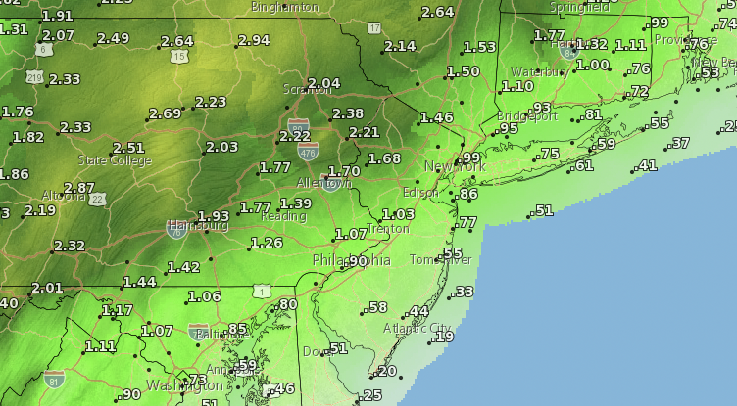 Total precipitation expected between Wednesday and Saturday, Aug. 18-21, 2021. (Credit: NWS)