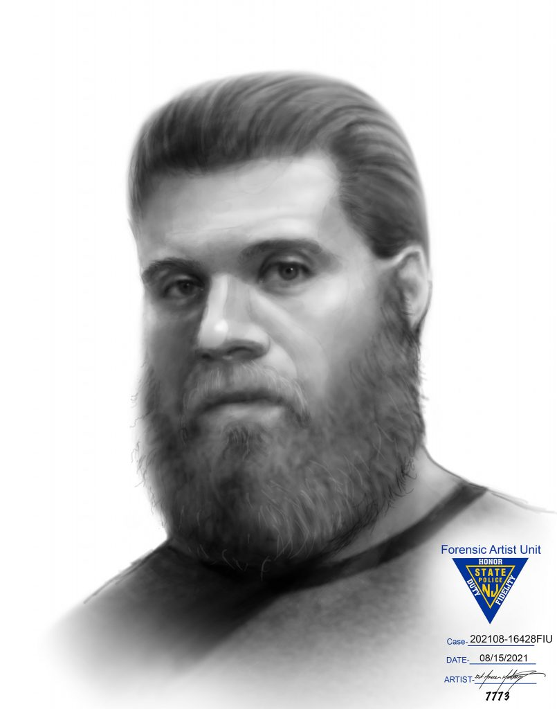 An illustration of a man suspected for impersonating a police officer. (Credit: NJ State Police)